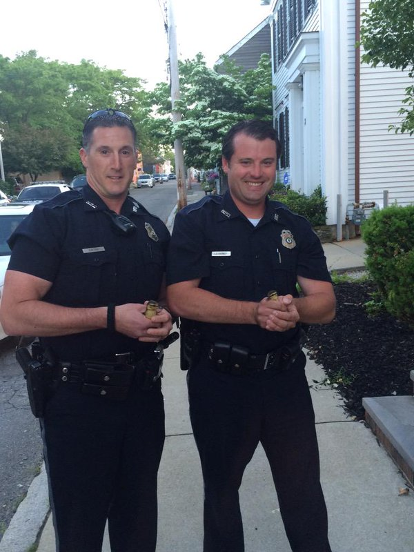 Officers Eaton & Tierney rescued 2 ducklings from a storm drain tonight! @NewburyportPD.